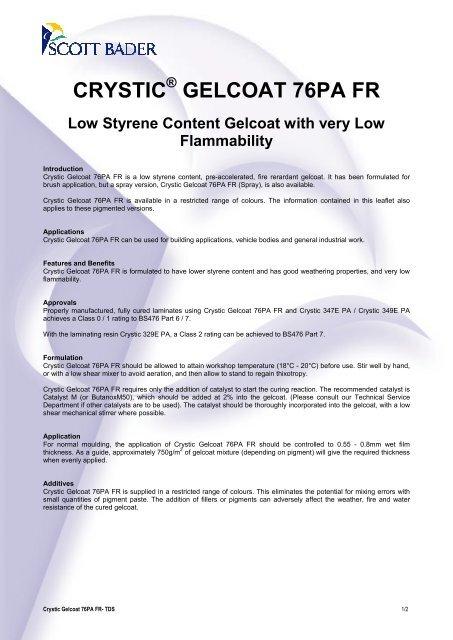 Crystic Gelcoat 76PA FR - English - Scott Bader