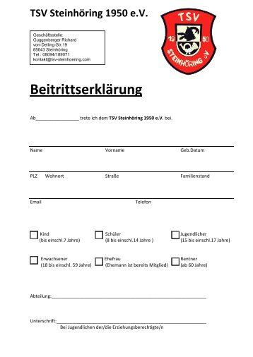 Einzugsermächtigung - TSV Steinhöring 1950 eV
