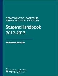 2012-2013 LHAE Student Handbook - Ontario Institute for Studies in ...