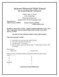 4th Annual Dodgeball Tournament - Jackson Memorial High School