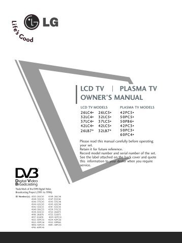 LCD TV PLASMA TV OWNER'S MANUAL - Southern-Discounts