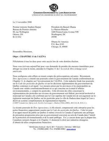 November 11, 2008 - Canadian Environmental Law Association