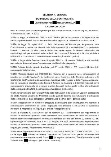 Delibera 28/13/CRL - Corecom Lazio