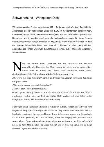 Schweinehund wir spalten Dich! (PDF) - STORY DEALER BERLIN