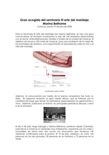 Arte del Maridaje para chefs en Caracas.pdf - Wines Of Argentina