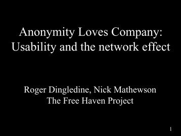 slides - The Free Haven Project