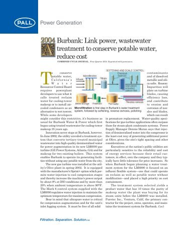Burbank: Link power, wastewater treatment to ... - Pall Corporation
