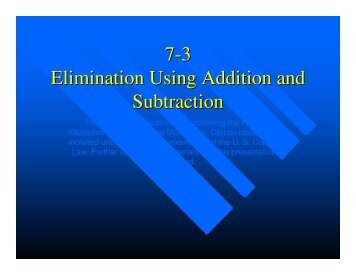 Microsoft PowerPoint – Algebra 7-3 Elimination - Mona Shores Blogs