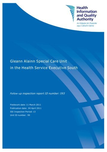 Gleann Alainn Special Care Unit follow up report - hiqa.ie