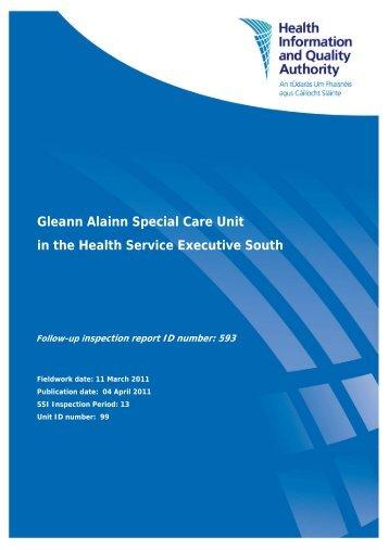 Gleann Alainn Special Care Unit follow up report - hiqa.ie