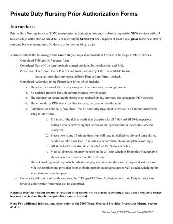 Texas Referral/Authorization Form Instructions