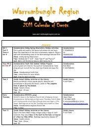 updated 17th Nove 2011 Calendar - Warrumbungle National Park
