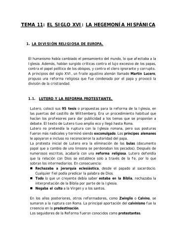 tema 11: el siglo xvi: la hegemonía hispánica - Colegio Ramón ...