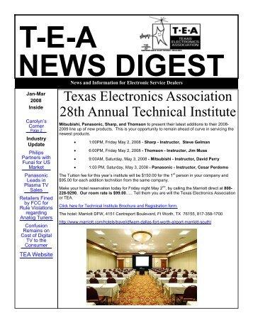 Jan-Mar08 T-E-A News Digest - Texas Electronics Association