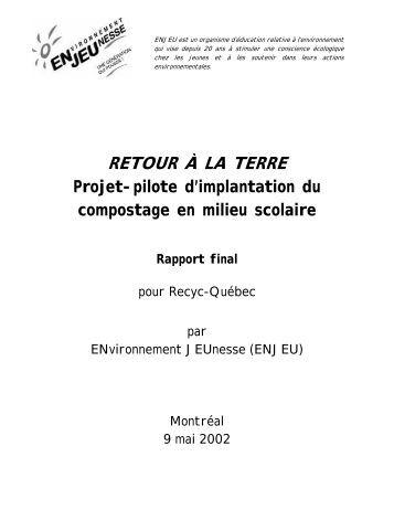 Projet pilote d'implantation du compostage en ... - Recyc-Québec