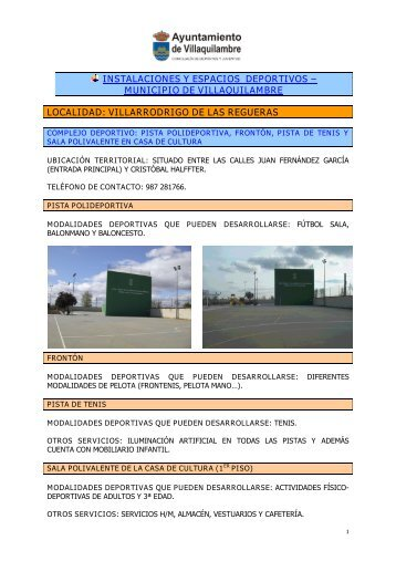 INSTALACIONES Y ESPACIOS DEPORTIVOS – MUNICIPIO DE ...
