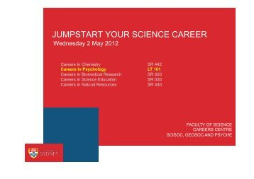 jumpstart your science career - School of Psychology - The ...