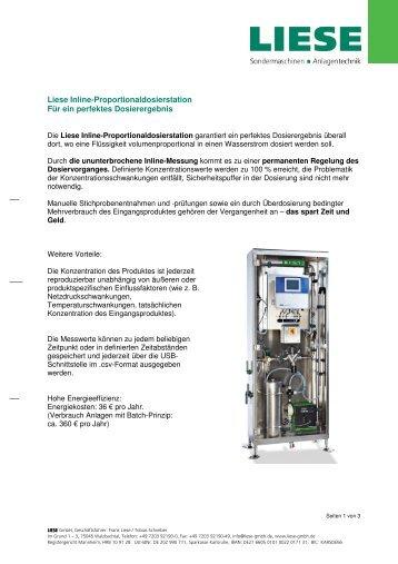 Liese Inline-Proportional-dosierstation - Liese GmbH