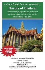 FLAVORS OF THAILAND $4199 - 14 days, 24 meals, 7 - 20 NOV 2014