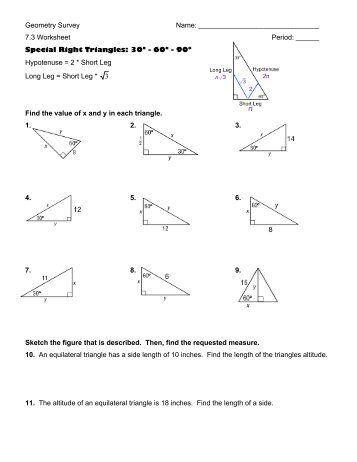 Geometry Section 82 Day 1 Name Special Right Triangles Date