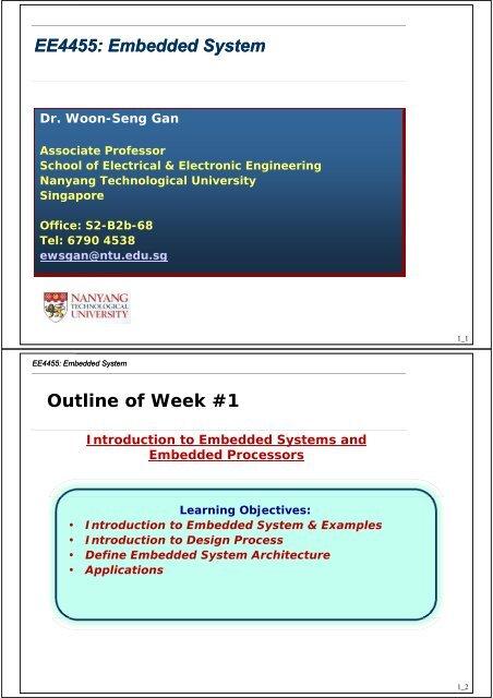 Week 1 Division Of Information Engineering Nanyang