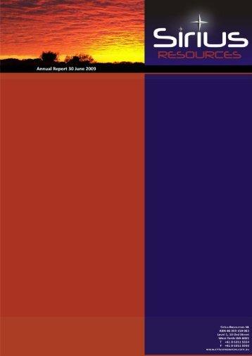 Annual Report 2009 - Sirius Resources