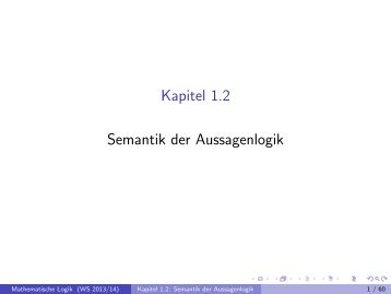 Kapitel 1.2 Semantik der Aussagenlogik