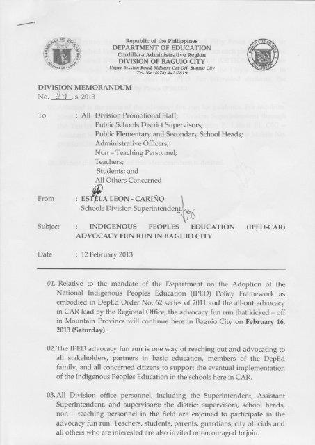 Download Memo Deped Baguio City Division Baguio City