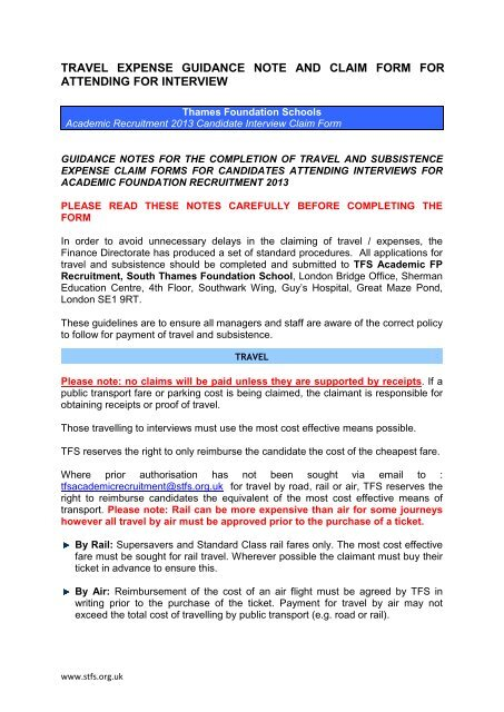 travel expense guidance note and claim form for attending for