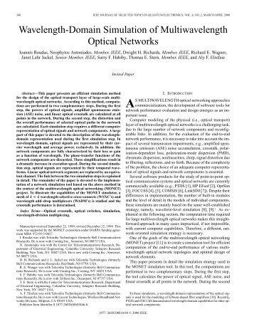 Wavelength-domain simulation of multiwavelength optical networks ...