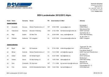 BSV-Landeskader 2012/2013 Alpin - Bayerischer Skiverband
