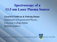 Laser plasma properties - Sematech