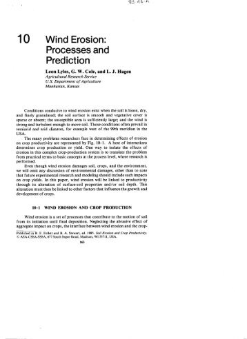 Wind Erosion Processes and Prediction - USDA-ARS Wind Erosion ...