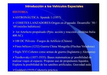 Introducción a los Vehículos Espaciales HISTORIA ...