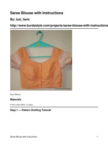 Saree Blouse with Instructions - BurdaStyle.com