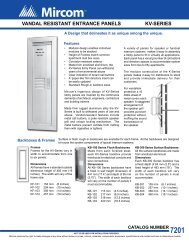 VANDAL RESISTANT ENTRANCE PANELS KV-SERIES - Mircom