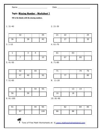 Printables Math Worksheets Land www mathworksheetsland com magazines missing number worksheet math worksheets land