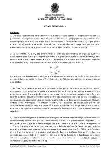 Lista de Exercícios Nº 1 - Chasqueweb.ufrgs.br