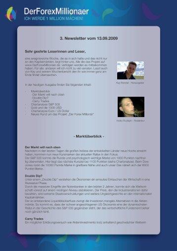 3. Newsletter vom 13.09.2009 - Der Forex Millionaer