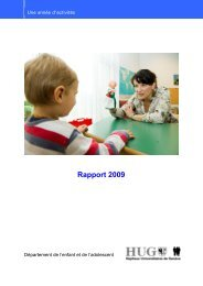 année 2009 - HUG - Département de l'enfant et de l'adolescent