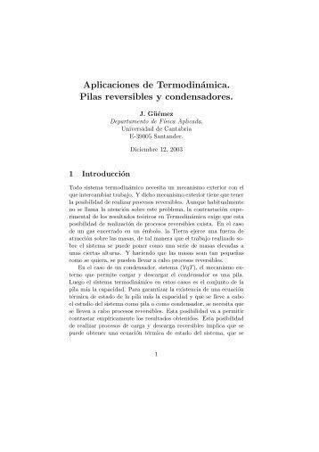 Aplicaciones de Termodinámica. Pilas reversibles y condensadores.