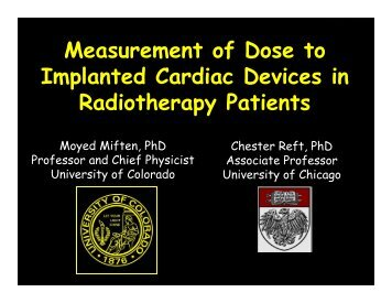 Measurement of Dose to Implanted Cardiac Devices in ... - CIRMS