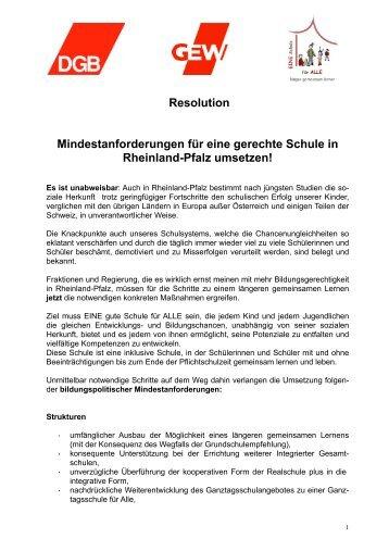 Resolution - EINE Schule für ALLE