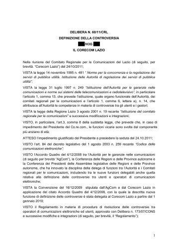 Delibera 60/11/CRL - Corecom