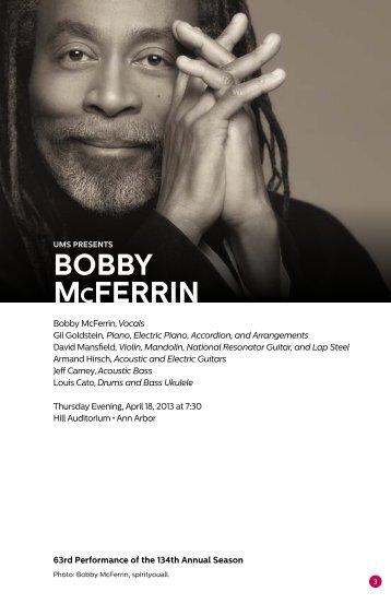 BOBBy McFERRiN - University Musical Society