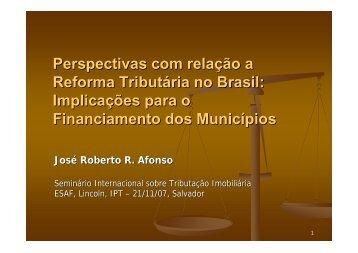 Perspectivas com relação a Reforma Tributária no Brasil ...