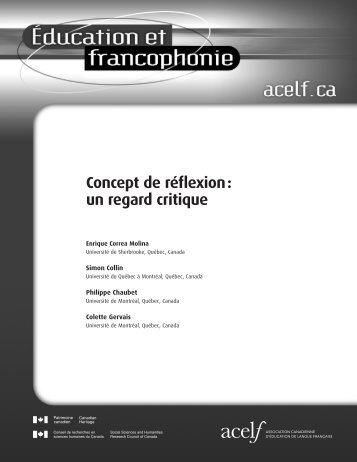 Concept de réflexion : un regard critique - acelf