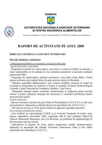 RAPORT DE ACTIVITATE PE ANUL 2005 - ansvsa