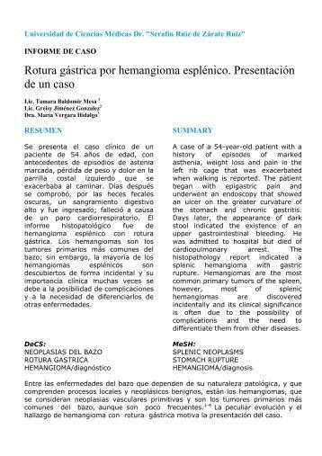 Rotura gástrica por hemangioma esplénico. Presentación de un caso