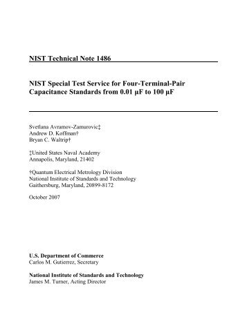 NIST Technical Note 1486 NIST Special Test Service for Four ...